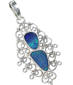 Design 15175: blue,multi-color opal pendants