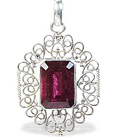 Design 15387: red garnet art-deco pendants