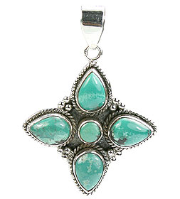 Design 15626: green turquoise flower pendants