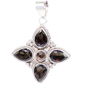 Design 15627: brown smoky quartz flower pendants