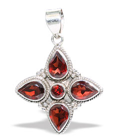 Design 15629: red garnet flower pendants