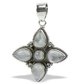 Design 15630: white moonstone flower pendants