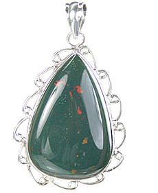 Design 15673: green bloodstone drop pendants