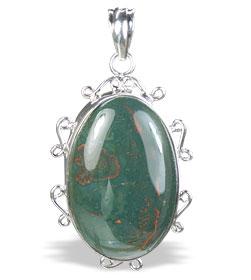 Design 15682: green bloodstone pendants