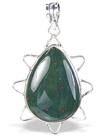 Design 15687: green bloodstone drop pendants