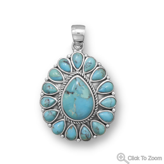 Design 22060: blue turquoise american-southwest pendants