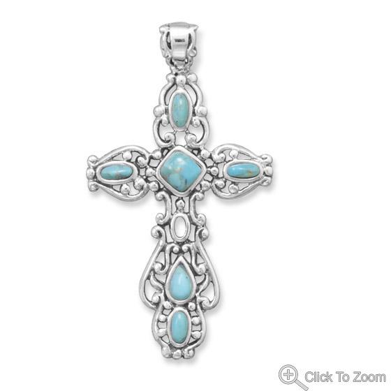 Design 22061: blue turquoise religious pendants