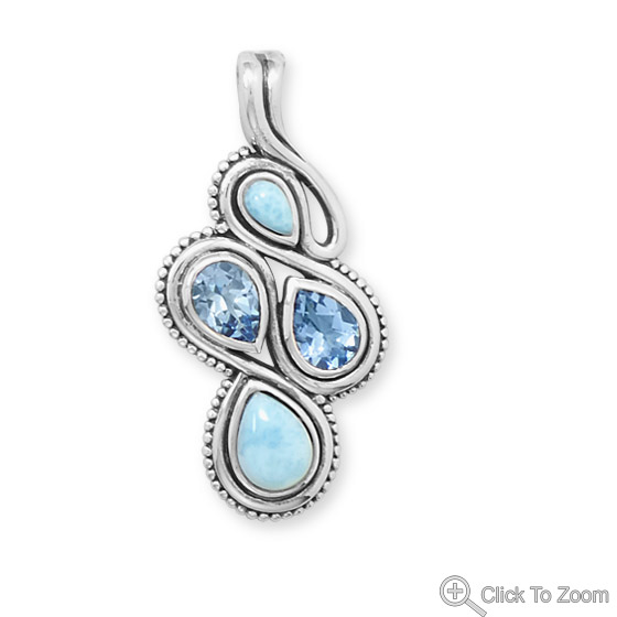 Design 22067: blue larimar art-deco pendants