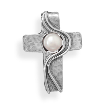 Design 22073: white pearl religious pendants