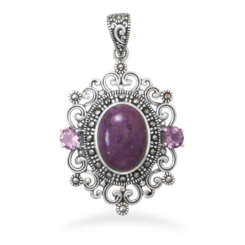 Design 22075: purple marcasite art-deco pendants