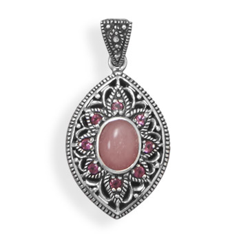 Design 22076: pink rhodolite estate pendants