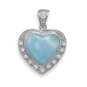 Design 22087: blue larimar heart pendants