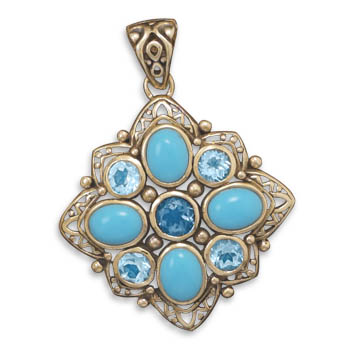 Design 22097: blue turquoise pendants