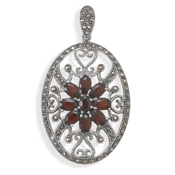 Design 22098: red garnet estate pendants