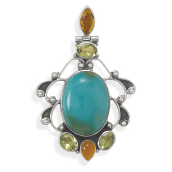 Design 22115: multi-color multi-stone pendants