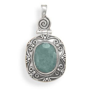 Natural stone beads and sterling silver jewelry made in gem stones design 22118 green emerald pendants aloadofball Image collections