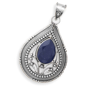 Natural stone beads and sterling silver jewelry made in gem stones design 22127 blue sapphire pendants aloadofball Image collections