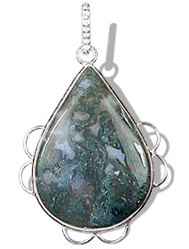 Design 9260: green,white moss agate drop pendants