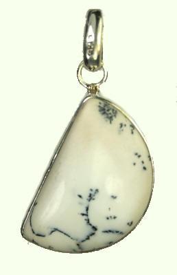 Design 9304: black,white dendrite opal pendants