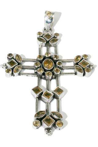 Design 9370: yellow citrine cross pendants