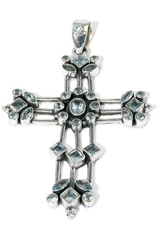 Design 9371: blue blue topaz christian, cross, religious pendants