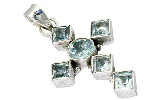Design 9400: blue blue topaz christian pendants