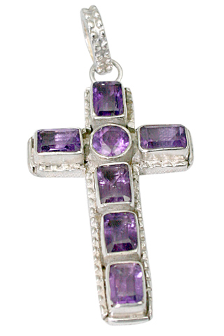 Design 9466: Purple amethyst cross pendants