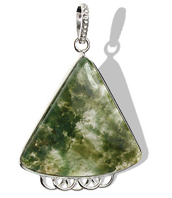 Design 9539: green,gray moss agate pendants