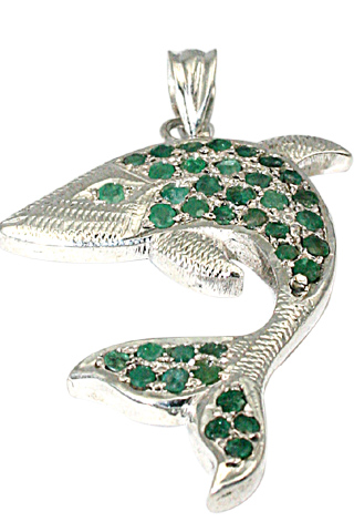 Design 9736: green emerald charms, fish pendants