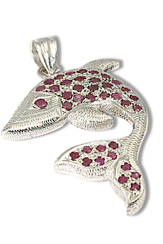 Design 9737: red ruby fish pendants
