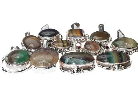 Design 9895: green,yellow,multi-color fluorite pendants