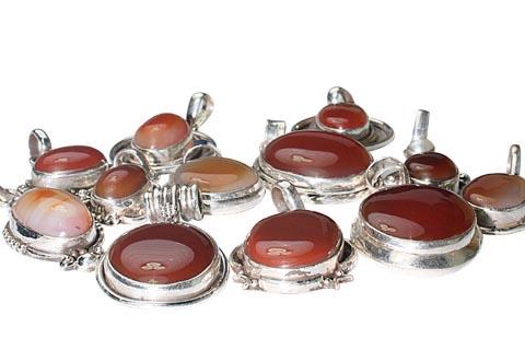 Design 9898: orange carnelian pendants