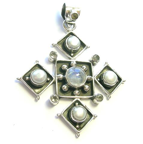 Design 9906: blue,white moonstone pendants