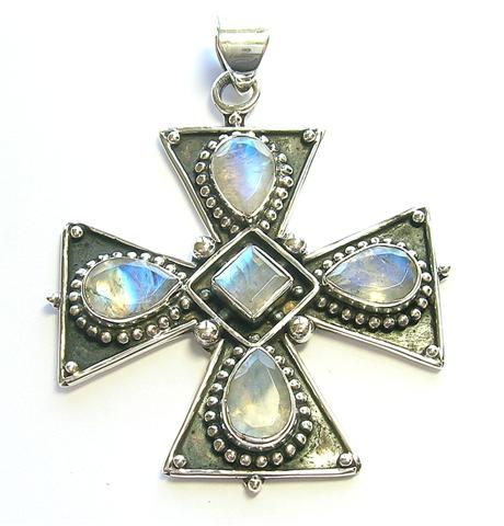 Design 9907: blue moonstone christian pendants