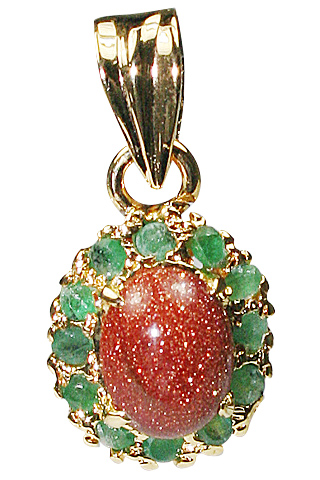 Design 9931: green goldstone pendants