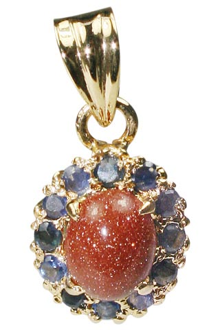 Design 9955: Rust, Blue goldstone pendants