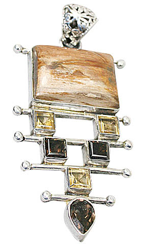 Design 9978: brown,yellow jasper chunky pendants