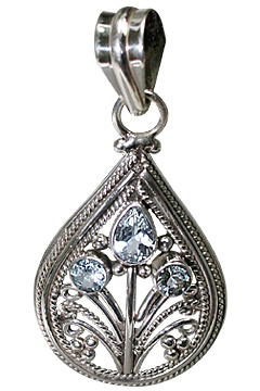 Design 9993: blue aquamarine drop pendants