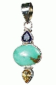 Design 10261: blue,purple,yellow turquoise drop pendants