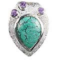 Design 12535: green,purple turquoise drop pendants