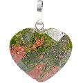 Design 13446: green,orange unakite heart pendants