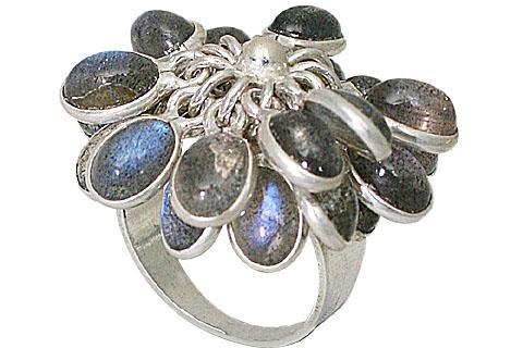 Design 10041: blue,gray labradorite flower rings