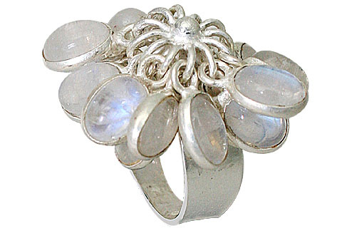 Design 10042: white moonstone contemporary, flower rings