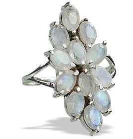 Design 10074: white moonstone flower rings