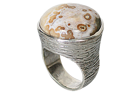 Design 10158: White, Brown jasper rings