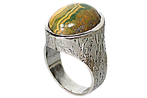 Design 10160: Green, Yellow jasper american-southwest rings