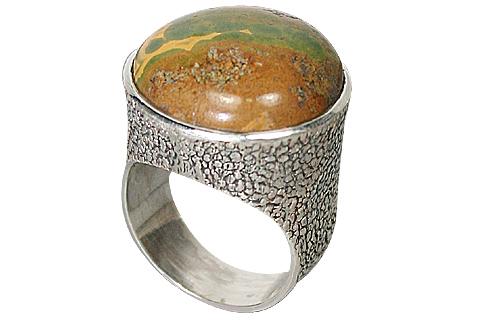 Design 10161: brown,multi-color jasper rings