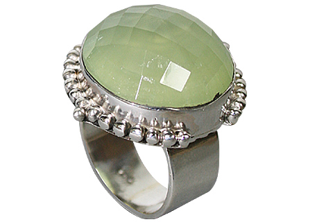 Design 10215: green prehnite gothic-medieval rings
