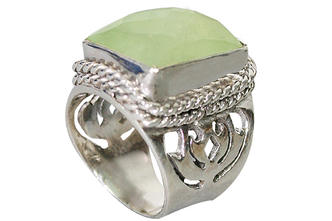 Design 10220: green prehnite gothic-medieval, mens rings
