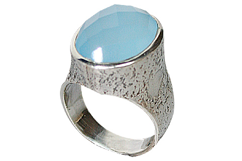 Design 10296: blue chalcedony rings